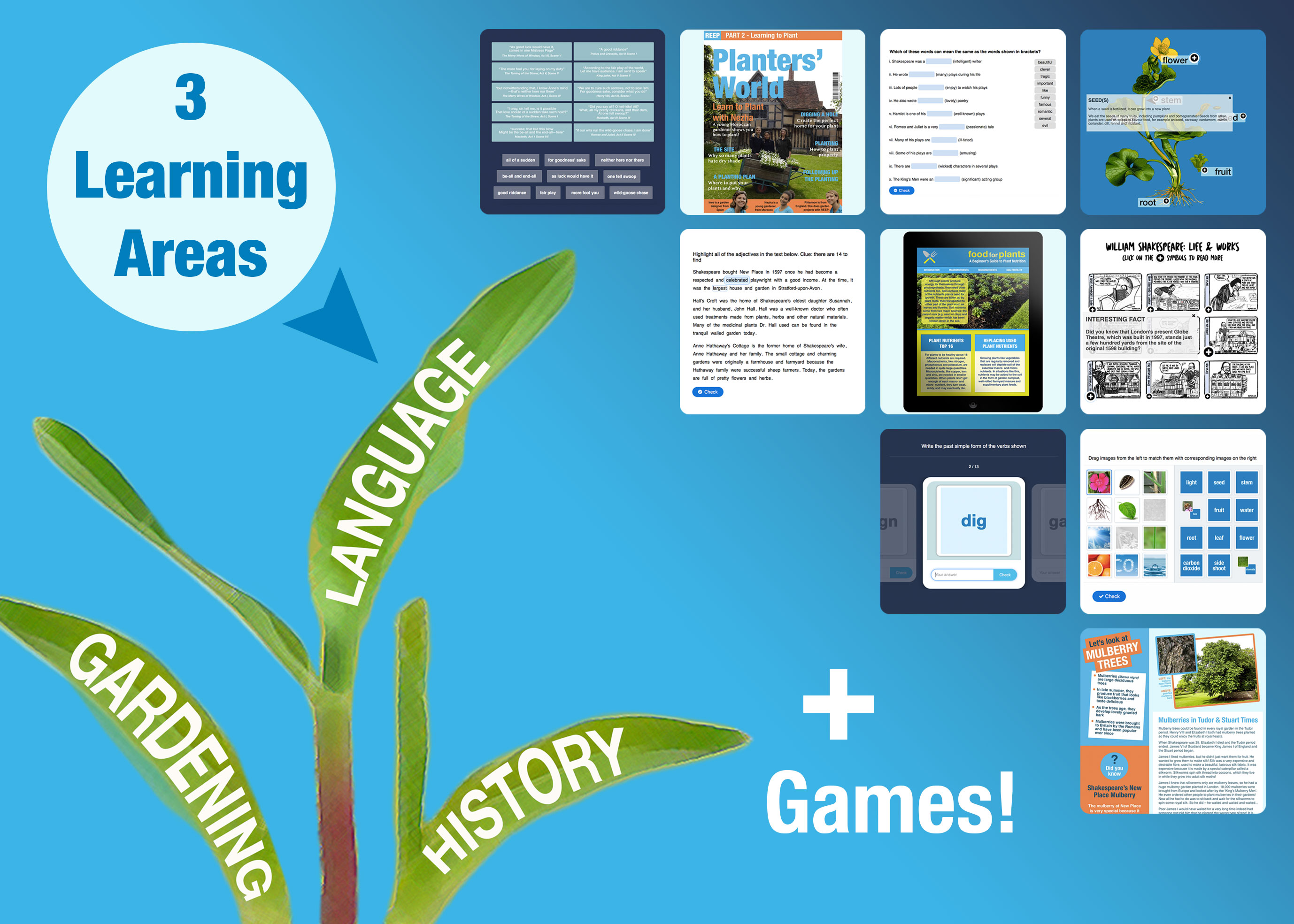 ETG - 3 Learning Areas: Gardening, Language and History